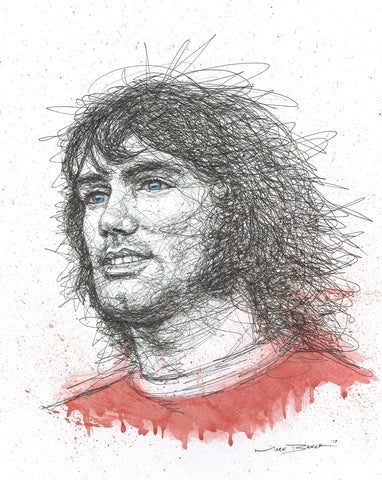 George Best scribble – print