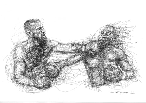 Mayweather v McGregor scribble sketch