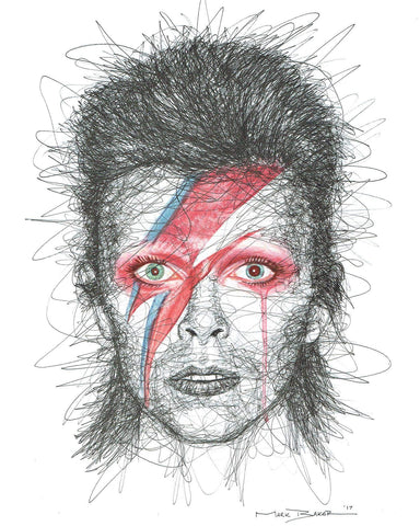 David Bowie scribble – print