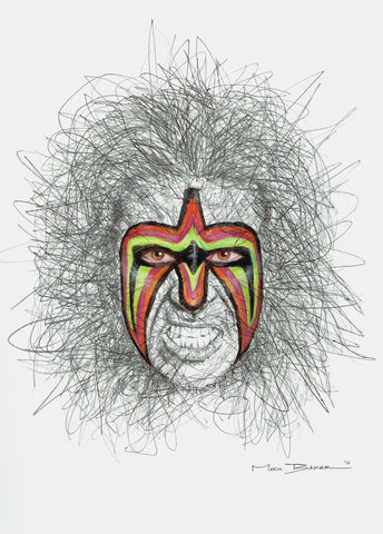 Ultimate Warrior scribble – print
