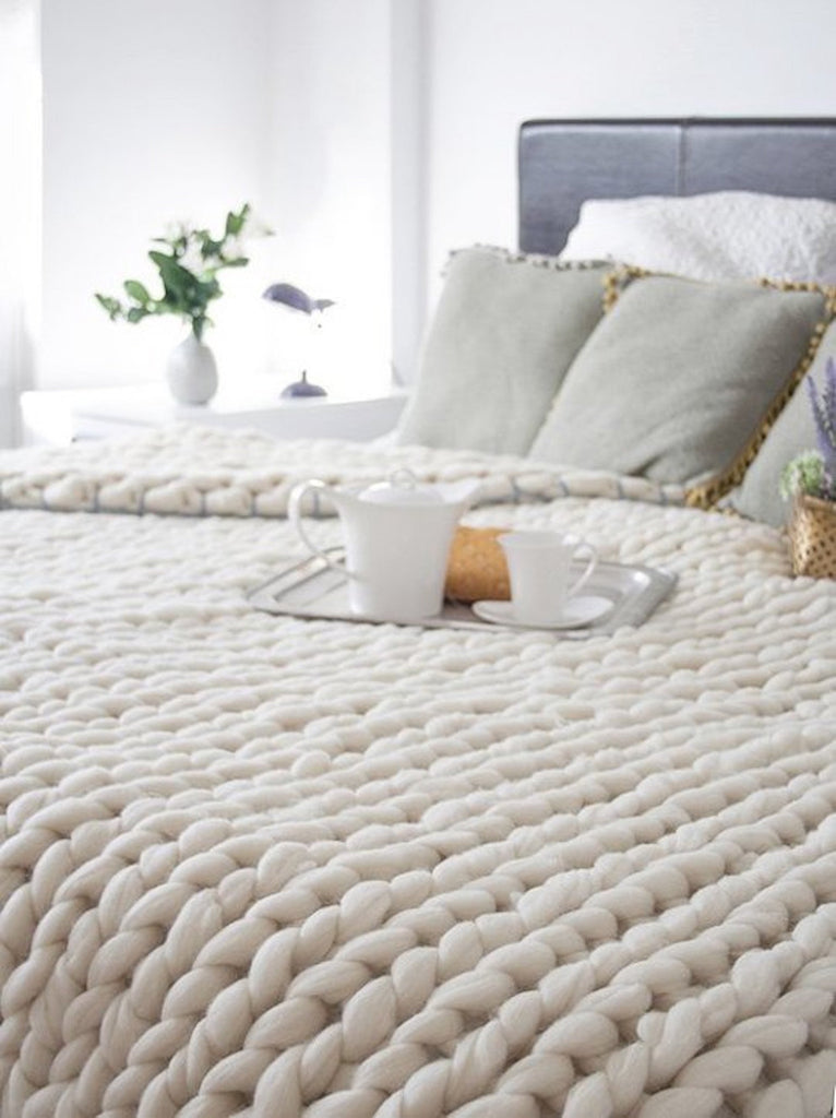 Chunky Knit Wool Blanket Choose Twin Throw, Queen or King and and color merino wool!  Warm Cozy and makes a warm freindly and inviting statement as home decor.
