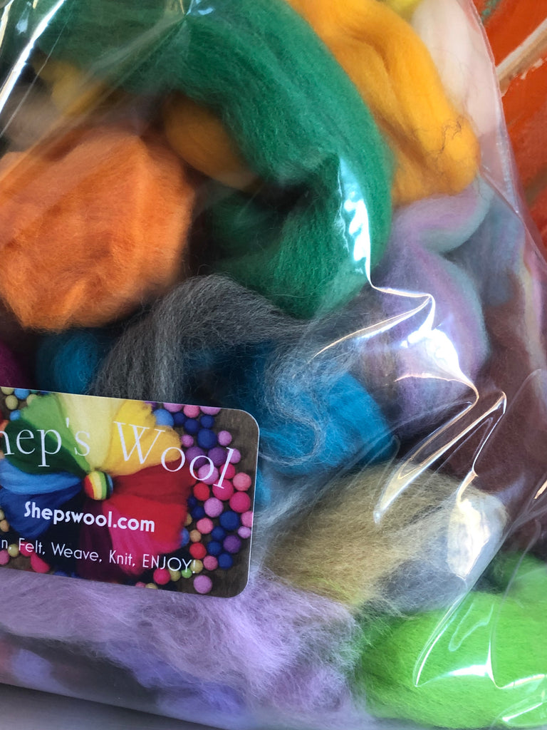 Spinning Felting Fiber Wool -Mixed Top and Roving Bag- 12 oz
