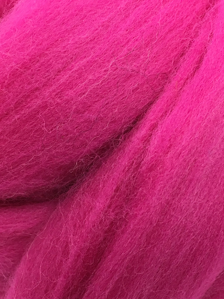 Hot Pink Merino Wool Top Roving