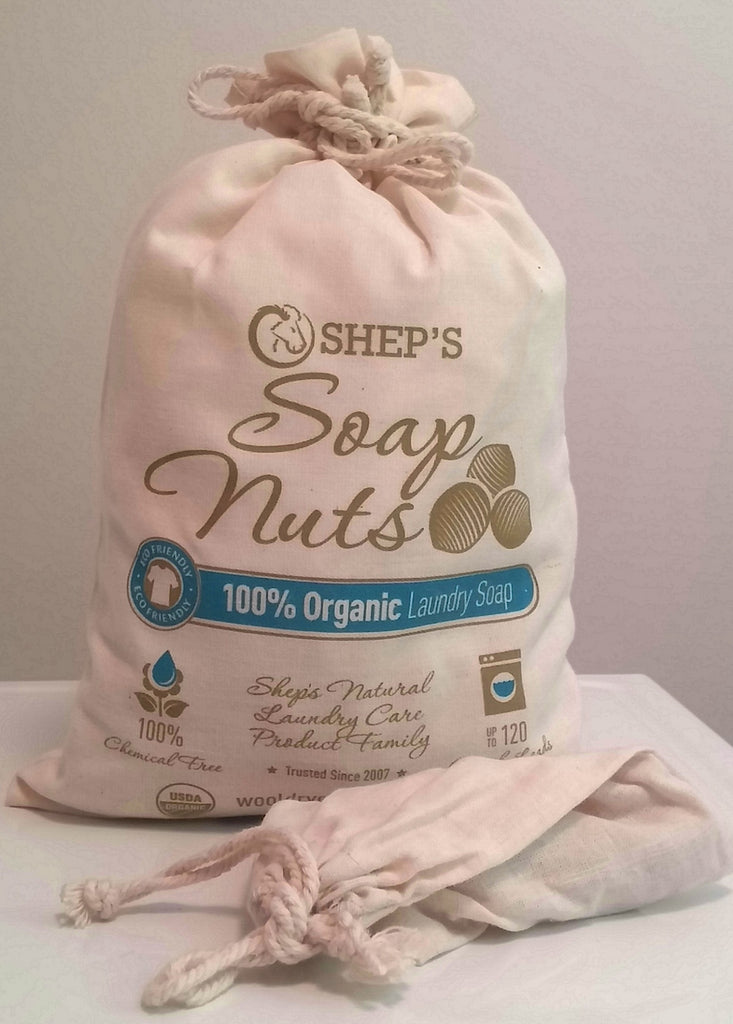 Shep's soap nuts offers natural laundry detergent in soap nut form. Wash laundry up to 4 times with the same soap nuts in the wash bag provided and then compost the used soap berries. Follow up with Shep's Wool Dryer Balls in the dryer for faster drying time and soft laundry done Naturally.