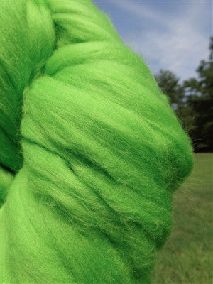 Apple Green Merino Wool Top Roving, Green Roving