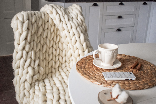40 x 64in Hand Made Soft Throw US Top Quality Merino Wool Chunky Knit Blanket