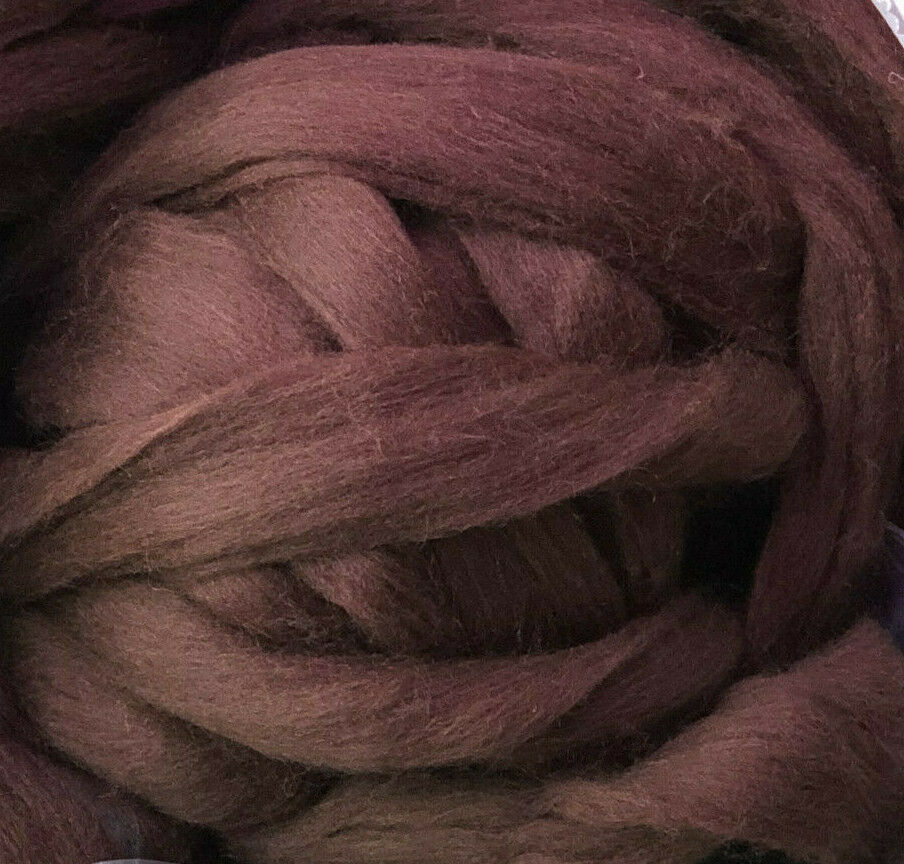 Dark Brown Wool Top Roving