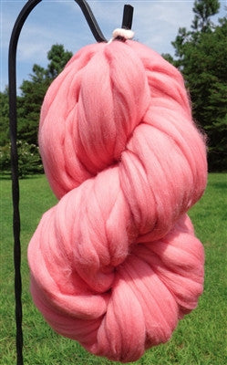Bubble Gum Pink Wool Top Roving