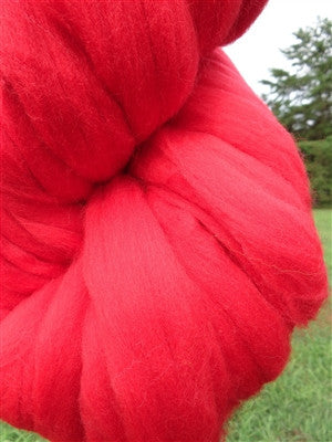 Crimson Red Wool Top Roving