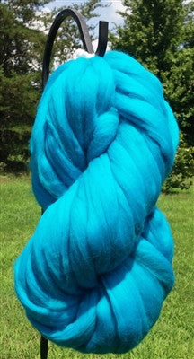 Teal Blue Wool Top Roving
