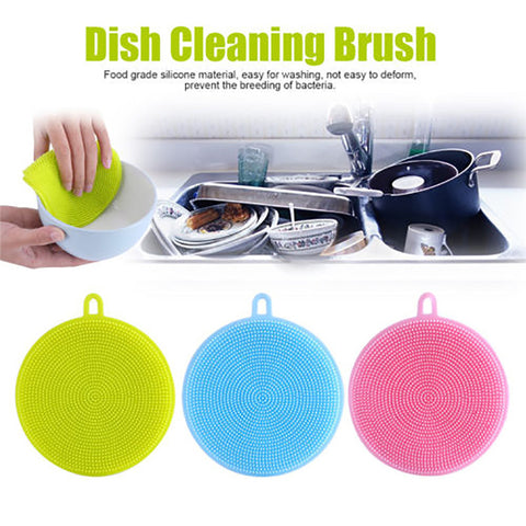 11CM Round Silicone Dish Washing Sponge Scrubber Kitchen Fruit Cleaning Brush Cleaner - Your Kitchen Ideas