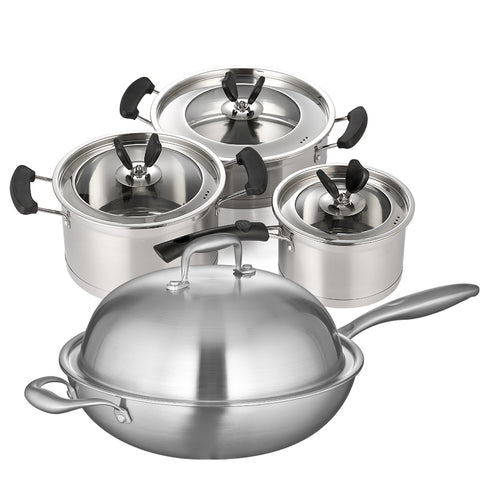 Cookware Sets casserole pots and pan stainless steel 6pcs glass cover anti-hot handle - Your Kitchen Ideas