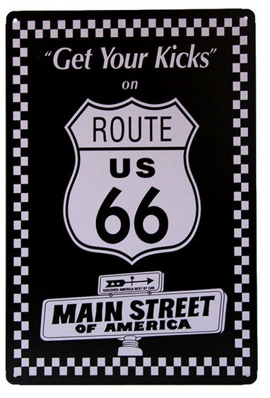 Plaque Métal Vintage Route 66 Get Your Kicks
