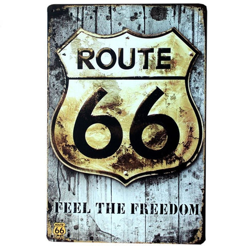 Plaque Métal Vintage Route 66 - Feel The Freedom