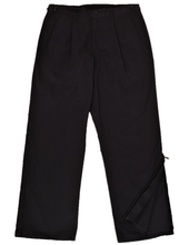 Load image into Gallery viewer, Full-length view of navy pants demonstrating one leg zipper in unzipped position