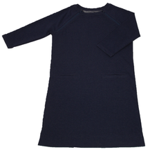 Load image into Gallery viewer, Full view of women's raglan-sleeve dress in navy featuring both upper chest zippers in zipped position