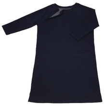 Load image into Gallery viewer, Full view of women's raglan-sleeve dress in navy featuring one upper chest zipper in unzipped position