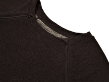 Load image into Gallery viewer, Close-up view of raglan-sleeve dress in dark gray demonstrating detailing of ribbed crew-neck trim, zipper pull covers, and fabric texture