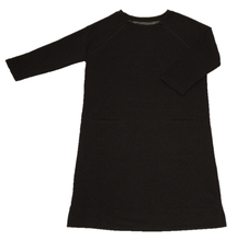 Load image into Gallery viewer, Full view of women's raglan-sleeve dress in dark gray featuring both upper chest zippers in zipped position