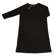Load image into Gallery viewer, Full view of women's raglan-sleeve dress in dark gray featuring one upper chest zipper in unzipped position