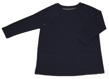 Load image into Gallery viewer, Full view of women's raglan-sleeve top in navy featuring bracelet-length sleeves, two double-welt front pockets, and both upper chest zippers in zipped position