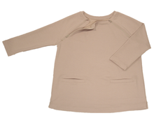 Load image into Gallery viewer, Full view of women's raglan-sleeve top in taupe featuring bracelet-length sleeves, two double-welt front pockets, and one upper chest zipper in unzipped position