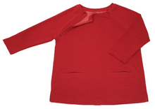 Load image into Gallery viewer, Full view of women's raglan-sleeve top in tomato color featuring bracelet-length sleeves, two double-welt front pockets, and one upper chest zipper in unzipped position