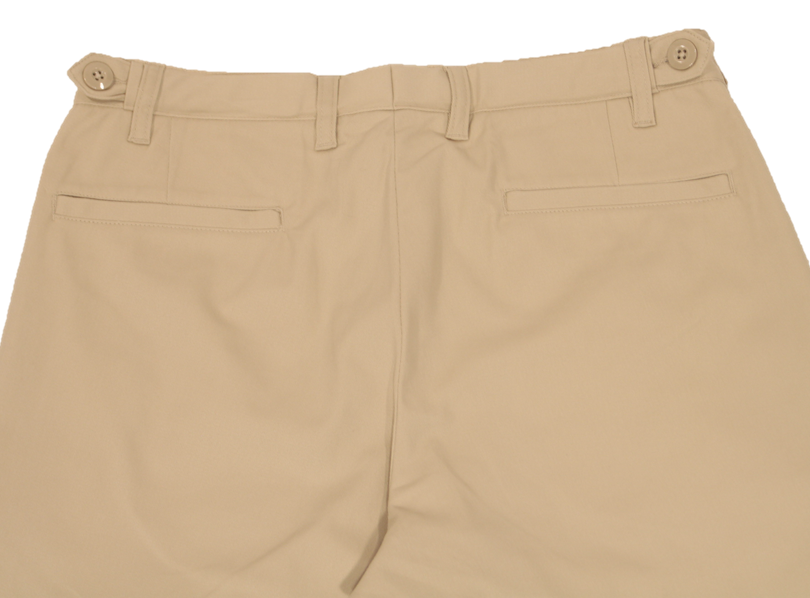 Close-up view of khaki pants to demonstrate detailing of rear welt pockets and expandable side button adjustment
