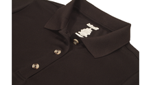 Load image into Gallery viewer, Close-up view of black polo dress demonstrating detailing of button placket, ribbed collor, and fabric texture