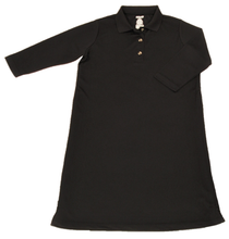 Load image into Gallery viewer, Full front view of black polo dress featuring front button placket and bracelet-length sleeves