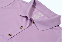 Load image into Gallery viewer, Close-up view of lilac polo dress demonstrating detailing of button placket, ribbed collor, and fabric texture