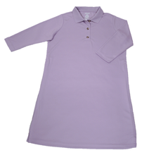 Load image into Gallery viewer, Full front view of lilac polo dress featuring front button placket and bracelet-length sleeves