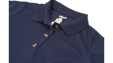 Load image into Gallery viewer, Close-up view of navy polo dress demonstrating detailing of button placket, ribbed collor, and fabric texture