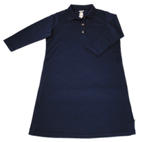 Load image into Gallery viewer, Full front view of navy polo dress featuring front button placket and bracelet-length sleeves