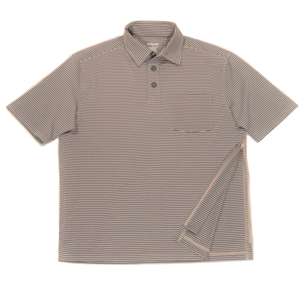 Full view of navy/ensign striped polo shirt showing one bottom-side zipper in unzipped position