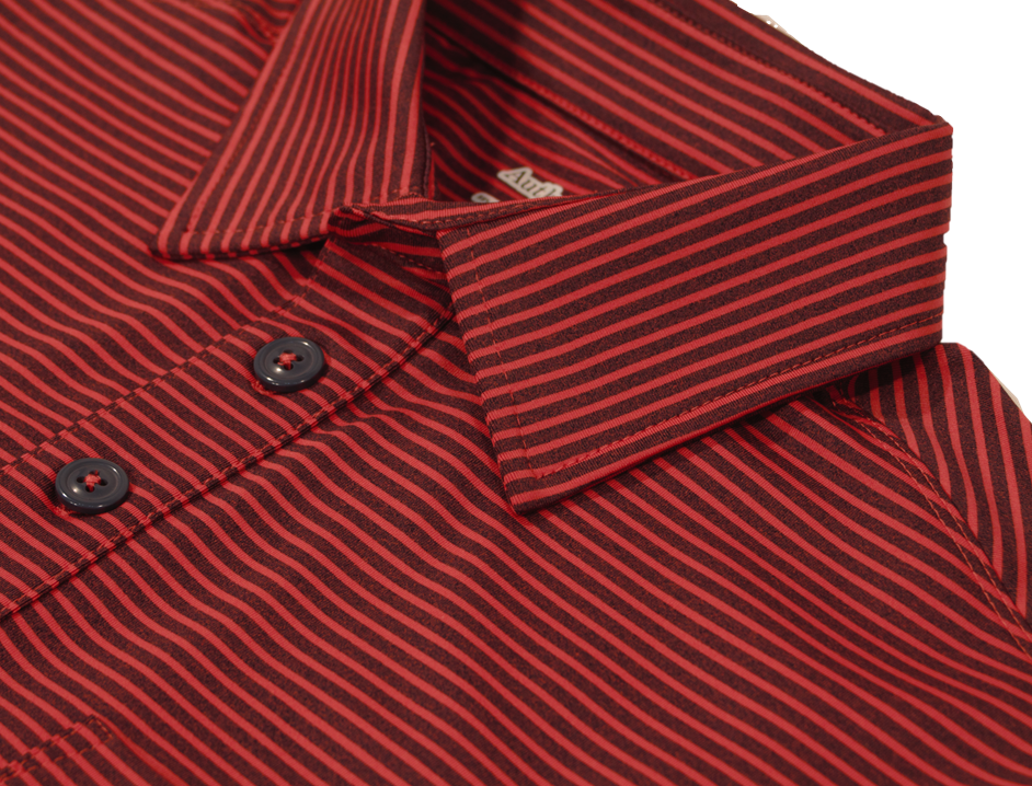 Close-up view of navy-tomato polo shirt showing quality details of button placket and collar