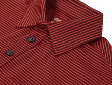 Load image into Gallery viewer, Close-up view of navy-tomato polo shirt showing quality details of button placket and collar