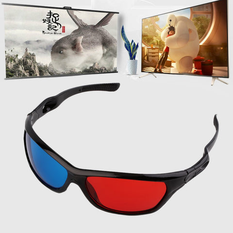 2016 New Universal 3D Plastic Glasses Black Frame Red Blue 3D Visoin Glass For Dimensional Anaglyph Movie Game DVD Video TV - Gadget World Store, 3D Lenses / Glasses