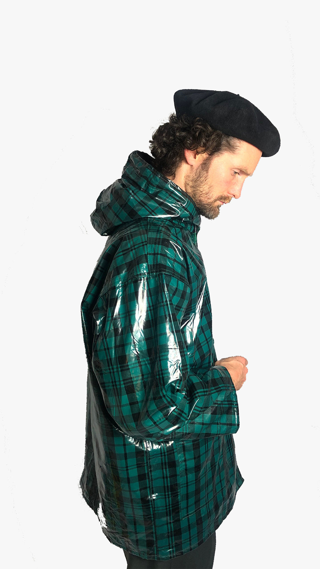 plaid raincoat