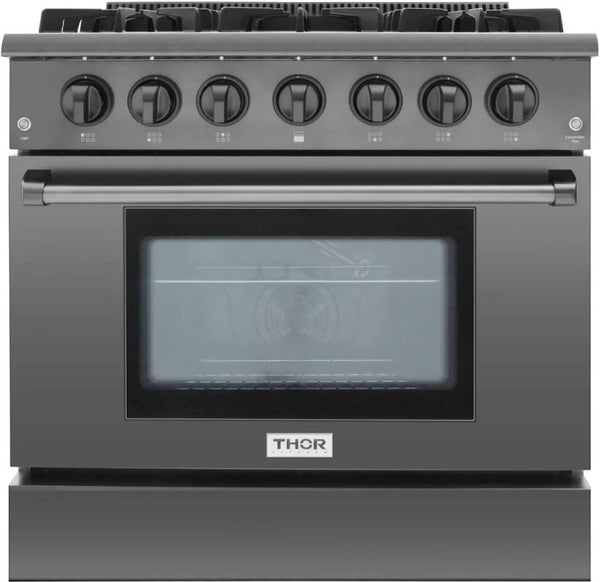 36 Inch THOR KITCHEN Gas Black Stainless Steel Convection Freestanding Range