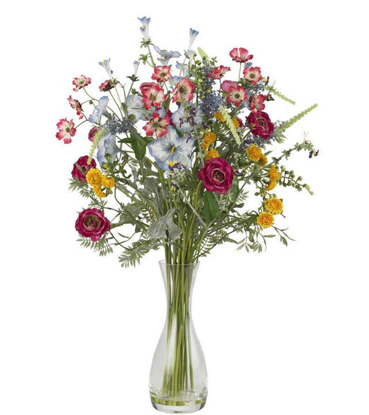 Colorful Wildflower Floral Decor Veranda Garden Silk Flower Arrangement and Vase
