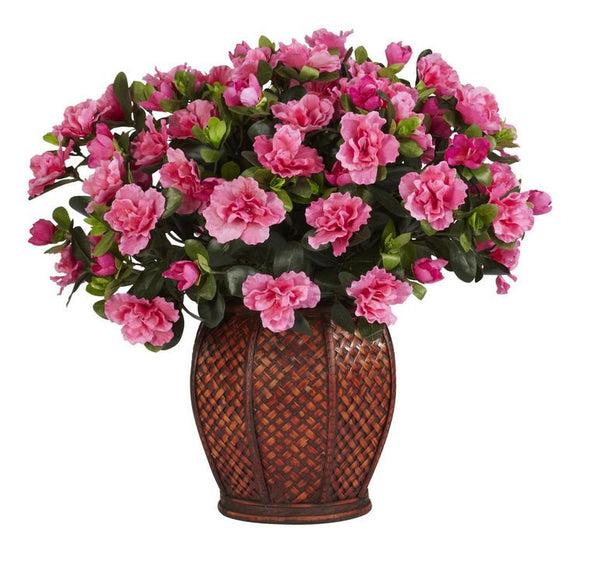 Artificial Summer Pink Azalea Silk Floral Home Decor Flower Plant with Vase