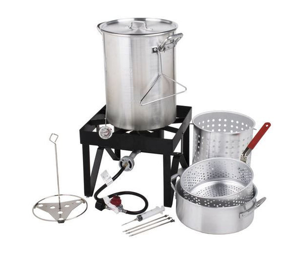 Aluminum Deluxe 30 Qt Outdoor Propane Turkey Deep Fryer, Seafood Steamer Pot Kit