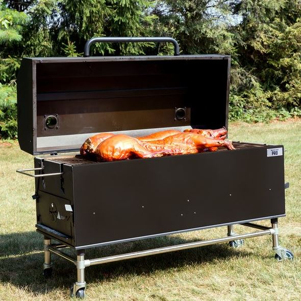 "60"" Charcoal-Wood Smoker, Black Powder Coated Exterior, Immense Cooking Surface with Casters"