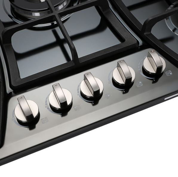 "Pro Style 30"" Built-In 5 Sealed Burner Black Enamel Gas Hob Cooktop"
