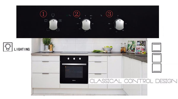 60cm Electric Black Tempered Glass Flush Design Wall Oven, 2400W