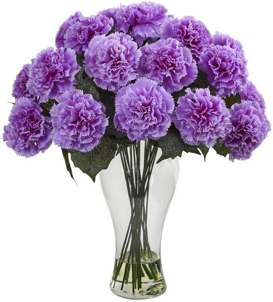 Carnation Flower Home Office Decor Floral Bloom Artificial Arrangement with Vase
