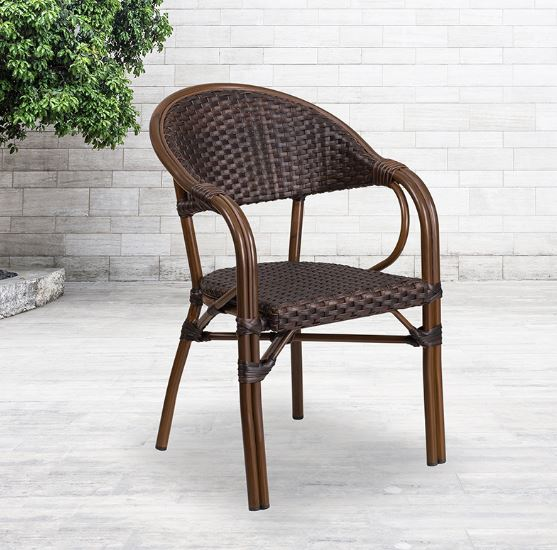 Classic Rattan Design Indoor Outdoor Patio Chair with Bamboo-Aluminum Frame