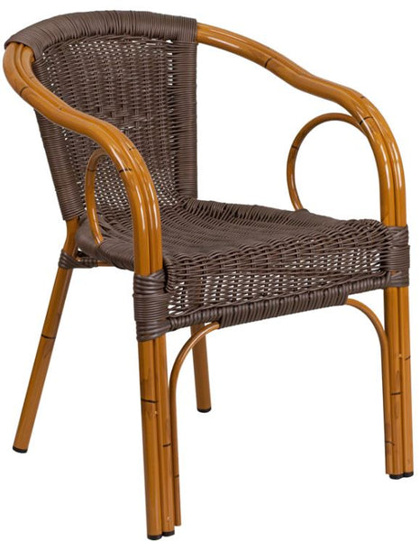 Lightweight Classic Rattan Design Patio Chair with Bamboo Styled-Aluminum Frame