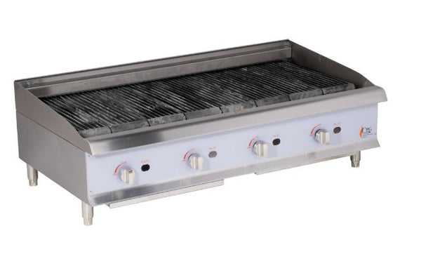 "48"" Commercial Kitchen Gas Countertop Lava Briquette Charbroiler - 160,000 BTU"